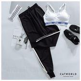 Catworld 玩色潮流。側條紋腰抽繩縮口運動褲【12001895】‧S-XL