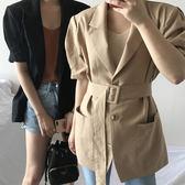 西裝外套歐美風 OL知性透氣風衣式繫帶西裝外套 艾爾莎【TAE6693】
