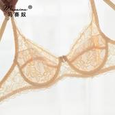 外貿大尺碼性感超薄透氣款透視透明鏤空蕾絲B 全罩杯女士文胸內衣
