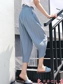七分寬褲七分褲女寬鬆夏季薄款大碼休閒胖mm雪紡百褶闊腿冰絲蘿卜燈籠褲子 芊墨 上新