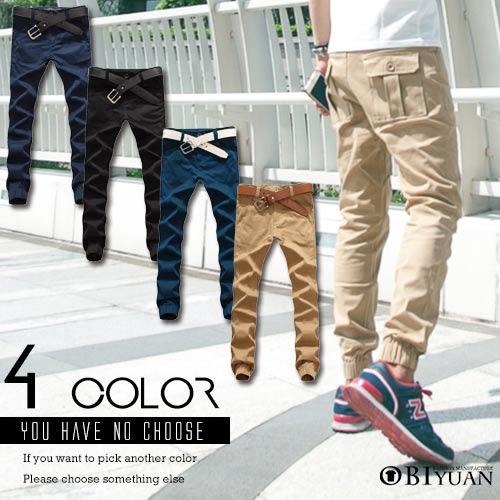有加大尺碼Jogger 休閒褲【T1522】OBI YUAN韓版軍裝後口袋彈性束口工作褲共4色