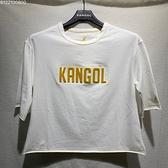 KANGOL 女款 短版 立體LOGO 短袖 白色 6122100800 【KAORACER】