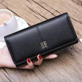 時尚歐美女士長款錢包 搭扣軟皮錢夾手機包 拉?零錢包潮青年皮夾 挪威森林