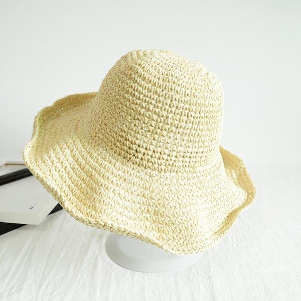 【現貨】梨卡 - 可折疊草帽女生夏季沙灘度假防曬遮陽帽海邊草帽編織沙灘帽M104