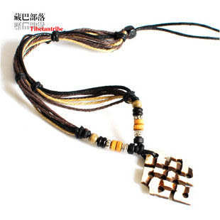 情侶 藏族風情 犛牛骨墜藏飾桃木繩編項鏈