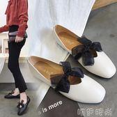 奶奶鞋 單鞋女新款韓版百搭平底淺口瓢鞋女蝴蝶結奶奶鞋學生芭蕾舞鞋 唯伊時尚