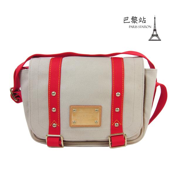 【巴黎站二手名牌專賣店】*現貨*LV 路易威登 真品*M40041 紅色織帶 x 米白色帆布斜背包 書包