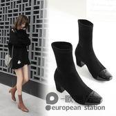 短靴/女春秋新款尖頭粗跟襪靴冬高跟裸靴彈力中筒襪子靴百搭鞋「歐洲站」