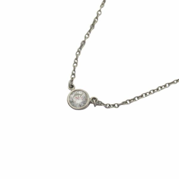 Tiffany & Co 蒂芬妮 Diamonds by the Yard系列單鑽墜飾白K金項鍊K18WG 【BRAND OFF】