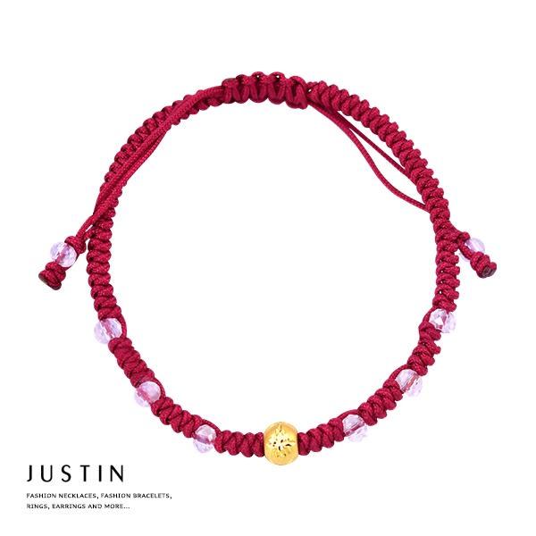 Justin金緻品 黃金紅繩手鍊 無限美好