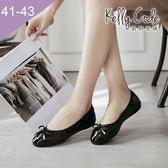 大尺碼女鞋-凱莉密碼-秋冬新色漆皮簡約蝴蝶結蛋捲平底鞋娃娃鞋1cm(41-43)【GL728-1】亮黑