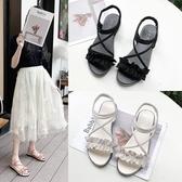 平底涼鞋女夏仙女風2020新款平跟花邊交叉綁帶露趾學生鞋休閒羅馬 後街五號