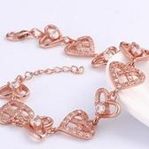 手鍊 玫瑰金純銀 鑲鑽-心型滿鑽生日情人節禮物女手環2色73bs1【時尚巴黎】