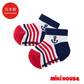 MIKI HOUSE 日本製 船錨條紋短襪