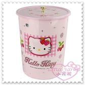 ♥小花花日本精品♥Hello Kitty 垃圾筒收納筒拿蓋式垃圾桶5.8L草莓格紋大臉韓國限定 33185903