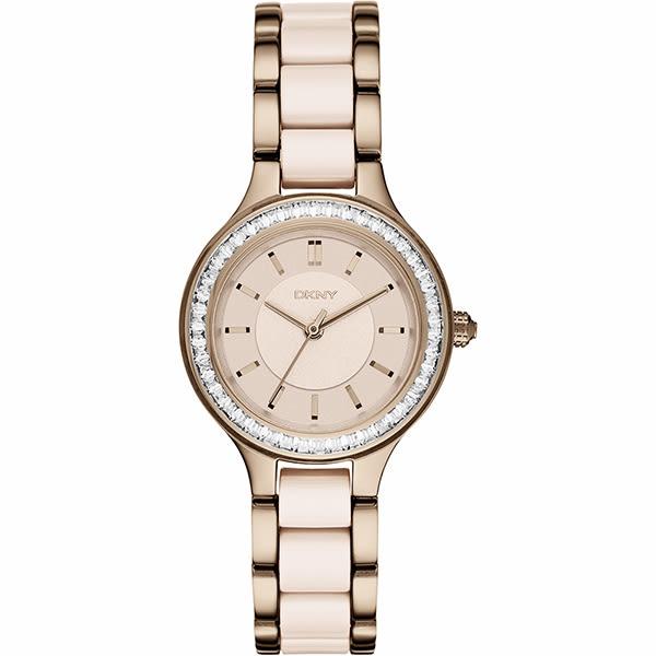 DKNY Ceramic 優雅陶瓷時尚腕錶/手錶-杏色x玫瑰金/30mm NY2467