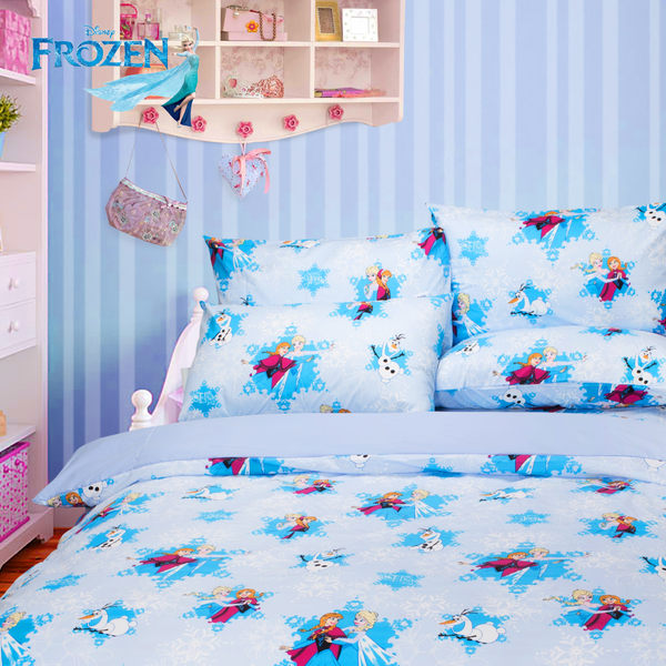 冰雪奇緣 夢幻魔法 藍 冬夏兩用被 單人 台灣製