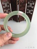 圓條手鐲天然岫玉圓條手鐲 岫玉綠料圓條手鐲 小艾時尚igo