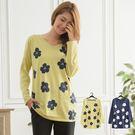 休閒造型花朵圖印寬鬆V領上衣(共 2色)...
