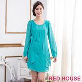 【RED HOUSE-蕾赫斯】層次感縫珠雪紡洋裝(湖水綠)