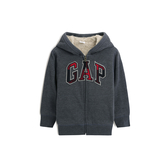 Gap男幼童 活力人造羊毛絨內裡Logo連帽衫474676-深石楠灰