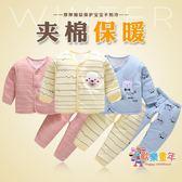 嬰兒秋冬套裝0-3個月1初生寶寶夾棉和尚服棉質冬季棉服新生兒衣服