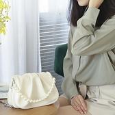 2021新款褶皺云朵包高級感腋下包單肩包女斜挎珍珠錬條包包手提包 陽光好物