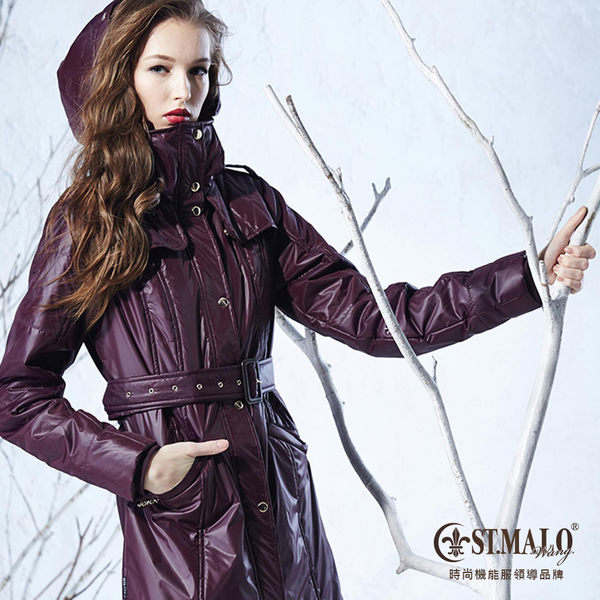 【ST.MALO】歐系蠟棉羊駝長大衣B-1457WJB-咖啡紫