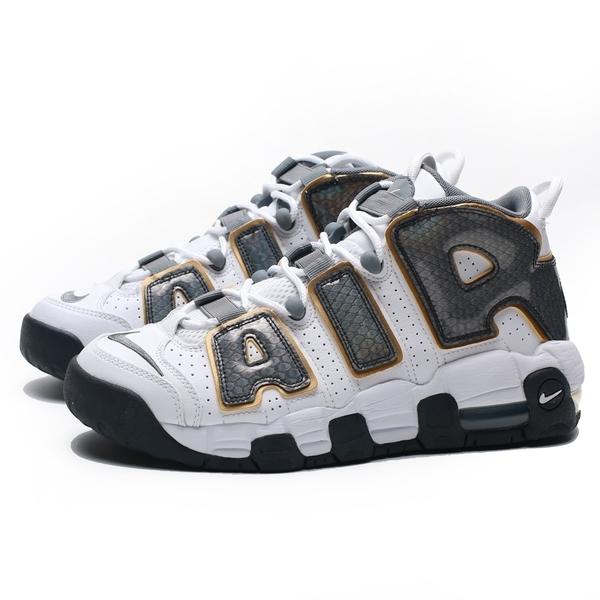 NIKE AIR MORE UPTEMPO GS 白灰 蛇紋 金邊 籃球鞋 女(布魯克林) CQ4583-100