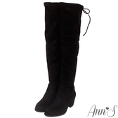 Ann'S正常版-名模後蝴蝶結側拉鍊貼腿過膝靴-細絨黑