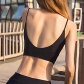 細肩帶瑜伽運動文胸女背心式吊帶聚攏防震美背內衣跑步健身bra夏