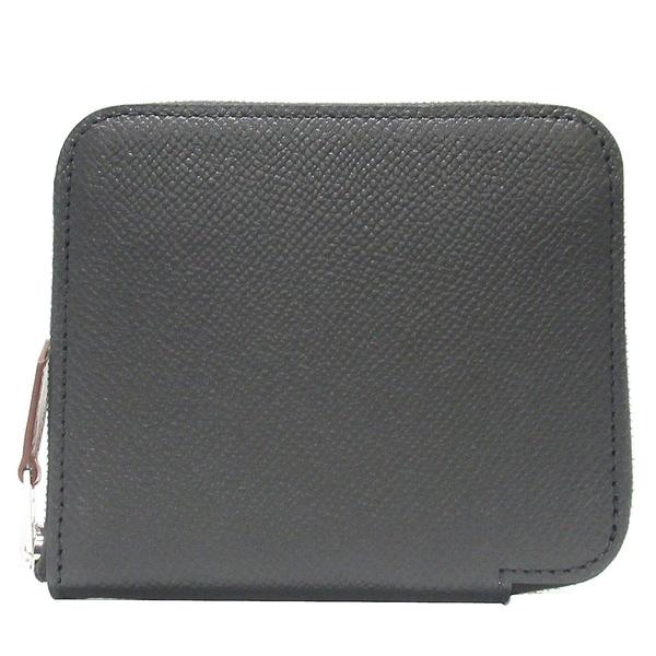 HERMES 愛馬仕 Noir 黑色絲巾內襯ㄇ字型零錢包Azap Silk In Compact Wallet BRAND OFF