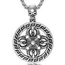 《QBOX 》FASHION 飾品【CSP458】精緻個性復古骷顱頭圓形圖騰鑄造鈦鋼墬子項鍊/掛飾