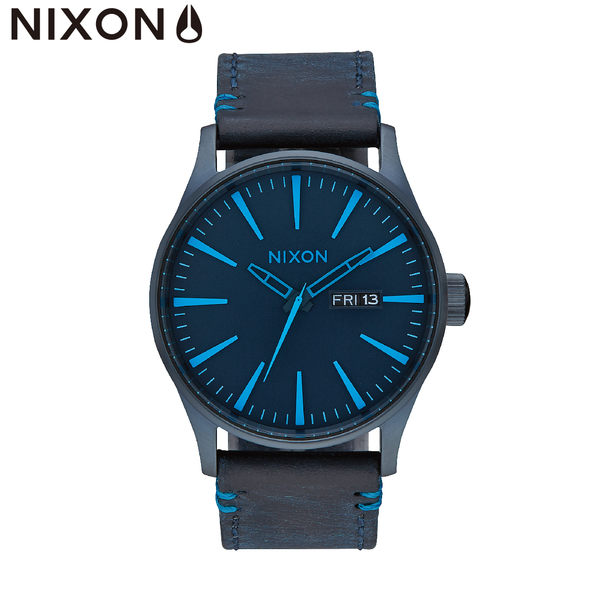 NIXON手錶 原廠總代理A105-2224 THE Sentry Leather 藍色 潮流時尚皮錶帶 男女 運動 生日情人節禮物