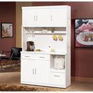 【森可家居】祖迪白色4尺碗碟櫃 (上+下) 8ZX936-2 餐櫃 收納廚房櫃 北歐風
