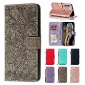 小米 紅米Note8T 蕾絲花點鑽皮套 手機皮套 插卡 支架 掀蓋殼 保護套