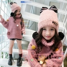 兒童帽子秋冬女童可愛公時尚加絨保暖毛線護耳帽子【聚可愛】