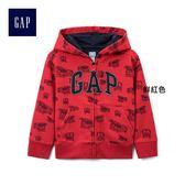 Gap男嬰幼童 Logo系列舒適汽車圖案連帽長袖休閒外套 269112-鮮紅色