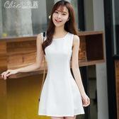 小黑裙夏季韓版修身顯瘦無袖背心打底短裙雪紡連身裙女裝「Chic七色堇」