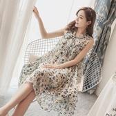 漂亮小媽咪 和風碎花雪紡洋裝【D7129】 韓系 無袖 孕婦裝 洋裝 孕婦洋裝 晚宴 實品拍攝