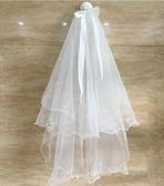 新娘頭紗韓式婚紗短款簡約素紗蓬蓬紗