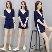 夏季休閒套裝 女兩件套韓版時尚v領短袖寬鬆雪紡闊腿 LR2192【野之旅】