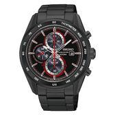 SEIKO Criteria時尚率性太陽能計時腕錶/黑紅x黑鋼/V176-0AM0R