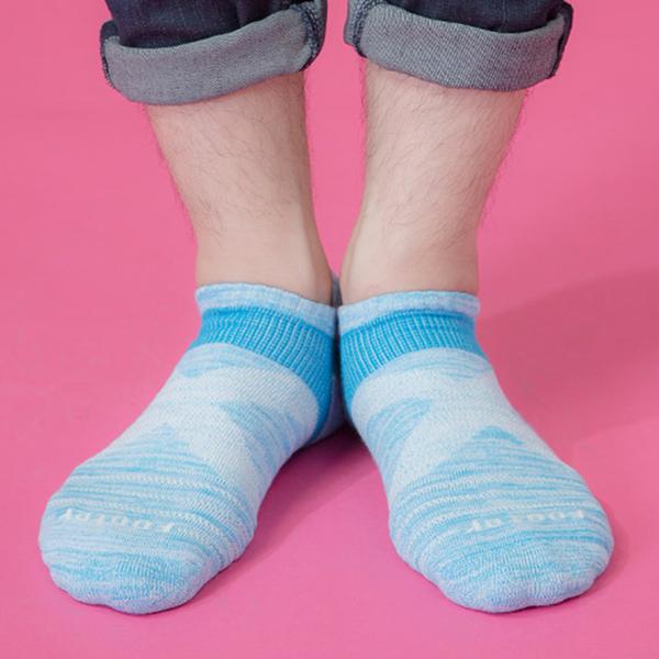 Footer 除臭襪 繽紛花紗輕壓力足弓船短襪(男)T108L-淺藍 24-27cm