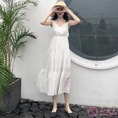 洋裝 秋裝2018新款 夏季大碼女裝高腰顯瘦V領白色收腰吊帶連身裙子女 一次元