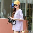 純棉中長款短袖t恤女裝寬鬆大碼半袖夏季2...