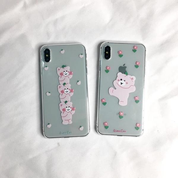 蘋果iphone11pro手機殼xr/xsmax/7/8plus韓國ins卡通6s小熊粉