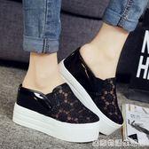 夏季厚底楔形厚底女涼鞋涼拖鞋內增高半拖鞋女透氣鬆糕包頭托鞋女韓版 居家物語