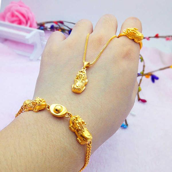 沙金貔貅手鏈項鏈戒指三件套鍍金項鏈女士仿真黃金招財套裝女飾品