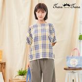 【Tiara Tiara】百貨同步新品aw  條紋撞色縮口袖上衣(卡其黑條紋/黃藍條紋)